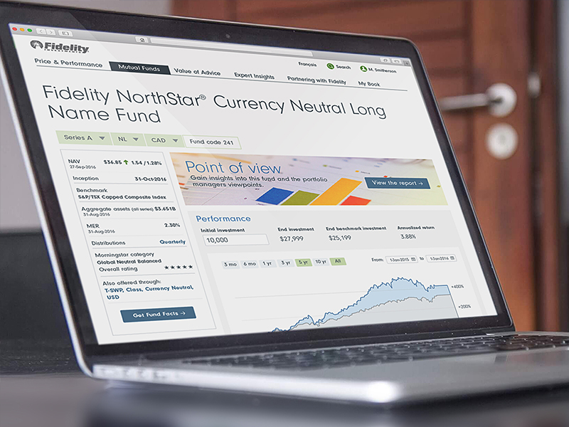 fidelity northstar fund webpage displayed on a mac laptop
